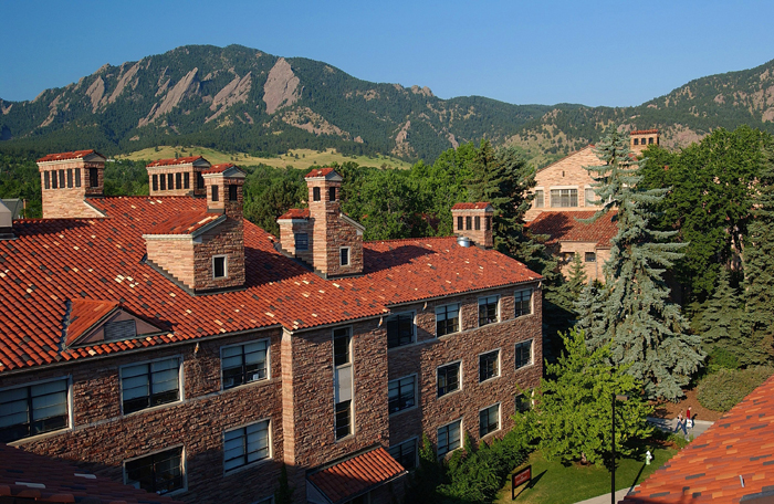 CU buildings and the Flatirons