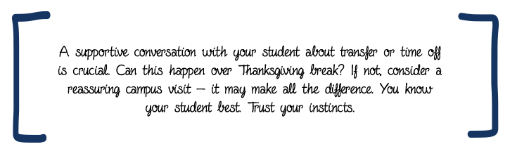 A supportive conversation with your student about transfer or time off is crucial. Can this happen over Thanksgiving break? If not, consider a reassuring campus visit — it may make all the difference. You know your student best. Trust your instincts.