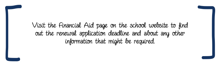 Visit the Financial Aid page on the school website to find out the renewal application deadline and about any other information that might be required.