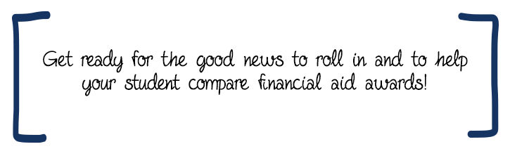 Get ready for the good news to roll in and to help your student compare financial aid awards!