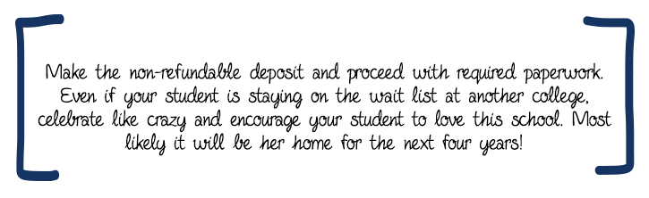 Make the non-refundable deposit and proceed with required paperwork. Even if your student is staying on the wait list at another college, celebrate like crazy and encourage your student to love this school. Most likely it will be her home for the next four years!