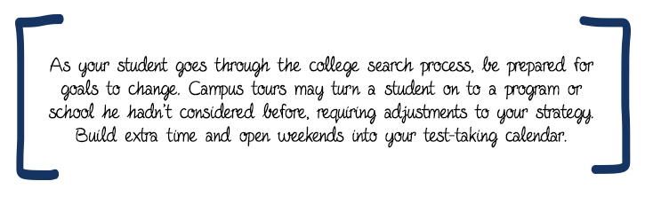 As your student goes through the college search process, be prepared for goals to change. Campus tours may turn a student on to a program or school he hadn't considered before, requiring adjustments to your strategy. Build extra time and open weekends into your test-taking calendar.